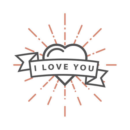 A heart with an i love you banner illustration.