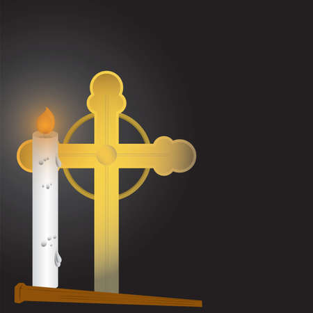 holy cross and candle background Ilustracja
