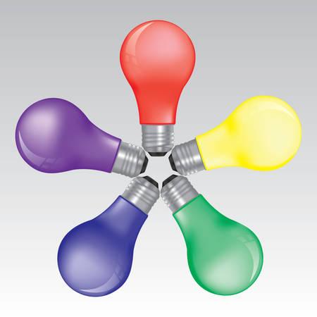 circle of rainbow bulbs