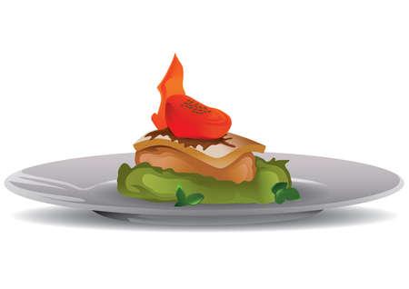 ステーキ野菜添え  イラスト・ベクター素材