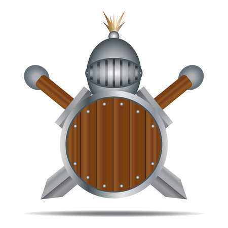 Knight helmet with swords and shield