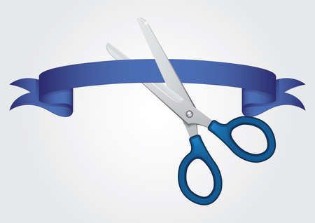 scissors cutting the ribbon Иллюстрация