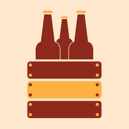 Een bierflesjes in houten doosillustratie. Stock Illustratie
