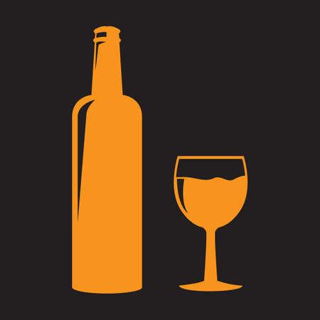 ワインのボトル、グラスのイラスト。  イラスト・ベクター素材