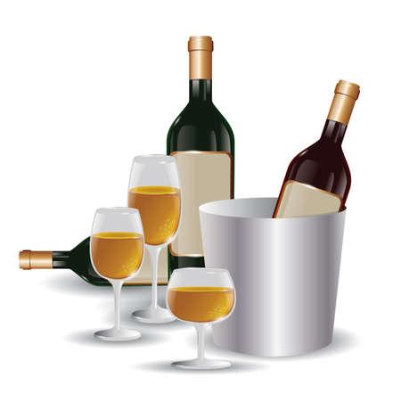 와인 병 및 와인 잔 일러스트