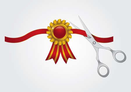 scissors cutting the ribbon Illustration