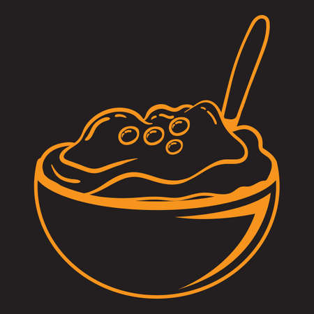 A mashed potato in bowl illustration.