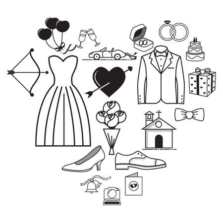 A set of wedding icons illustration. Illustration