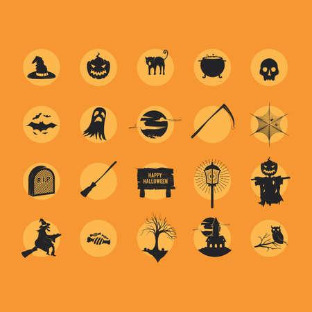 set of halloween icons Çizim