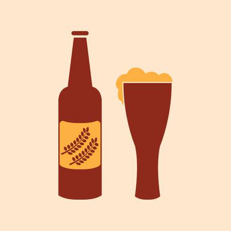 A beer bottle and glass illustration. Illustration