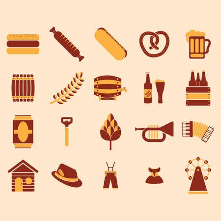 A set of german oktoberfest icons illustration. Illustration