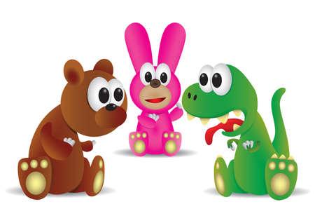 Dinosaurussen met konijn en beer