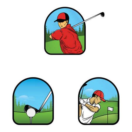 men playing golf Stock Illustratie