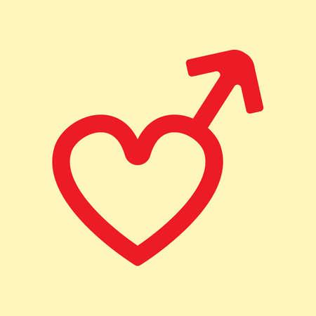 A heart shaped male gender symbol illustration.