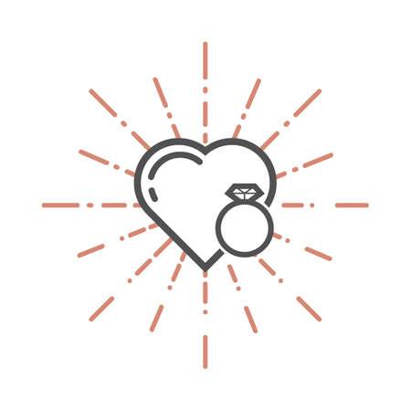 심장 및 다이아몬드 반지 그림입니다. 일러스트