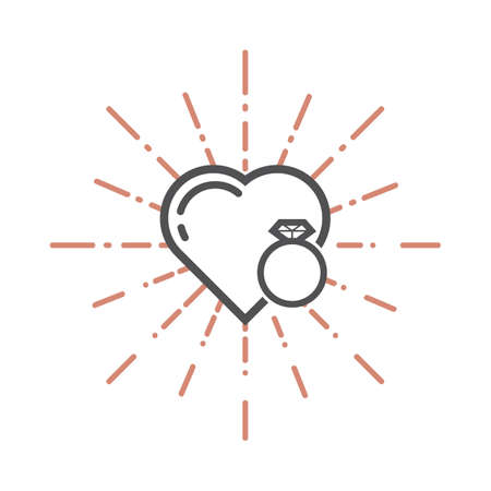 A heart and a diamond ring illustration.