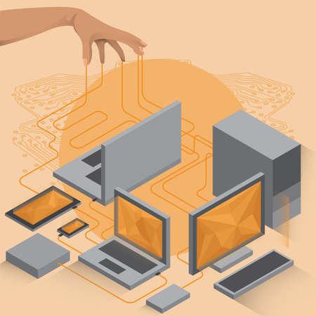 main avec circuit connectant des périphériques informatiques