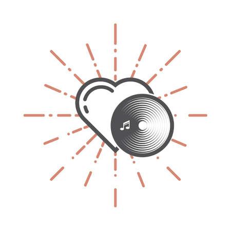 심장 및 레코드 디스크 그림입니다. 일러스트