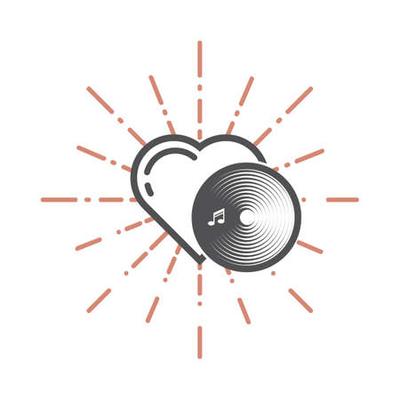 A heart and a record disc illustration. Illustration