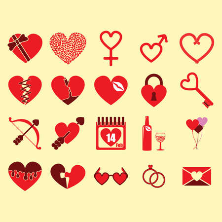 Un conjunto de ilustración de los iconos del día de San Valentín. Foto de archivo - 81420238