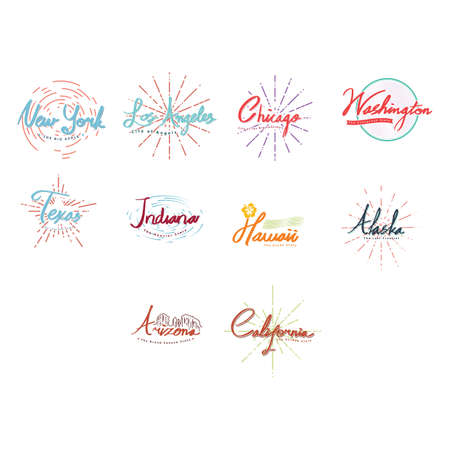 lettering of american cities collection