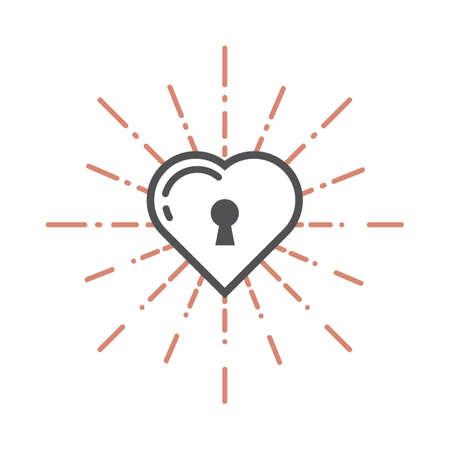 A heart shaped lock illustration. Illustration