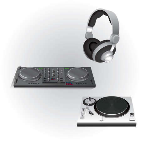 dj ミキサー ターン テーブルと頭の携帯電話