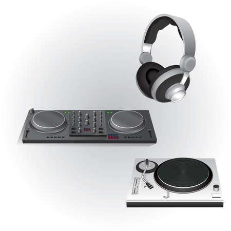 DJ 믹서 턴테이블 및 헤드폰
