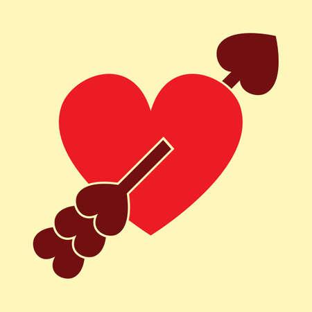 Arrow piercing heart illustration. Фото со стока - 81420243