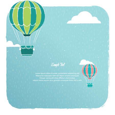 Een van de hete luchtballon illustratie als achtergrond.