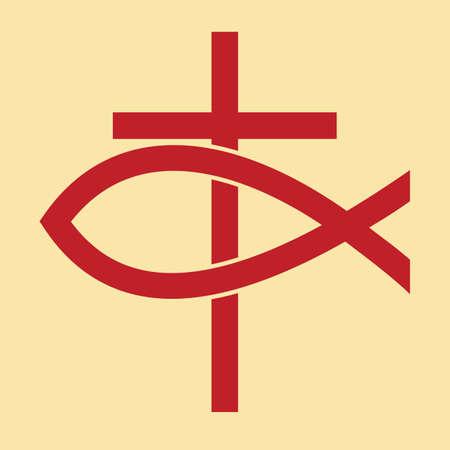 Kreuz und Fisch Vektorgrafik