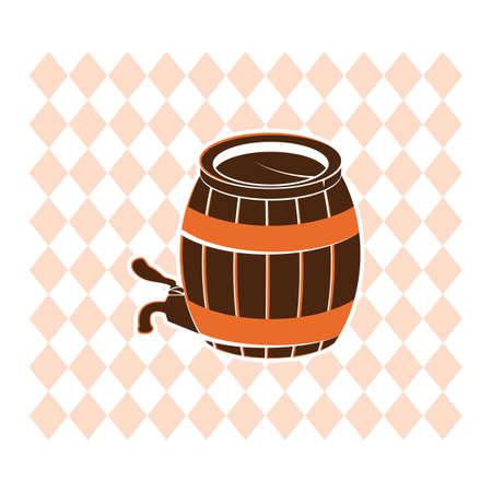 Een houten vat met kraanillustratie.