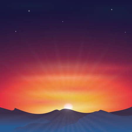 夕日を背景  イラスト・ベクター素材