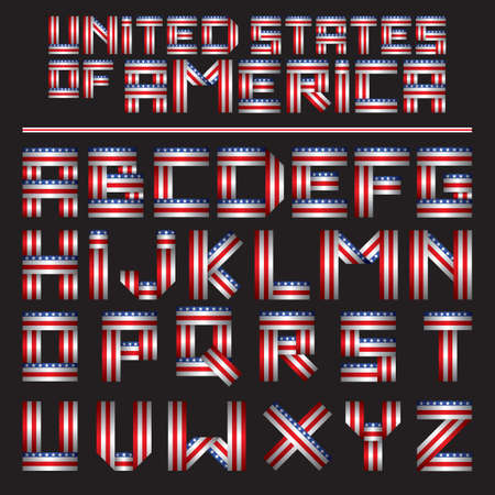 american style alphabet set Çizim