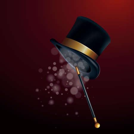 magician hat with wand Ilustração