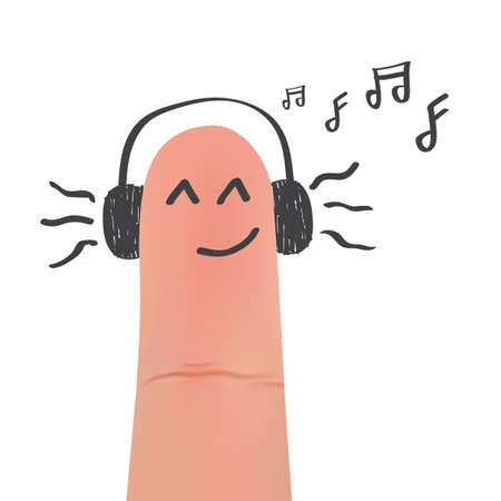 headphones on smirking face on finger