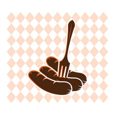 フォークのイラストのソーセージ。