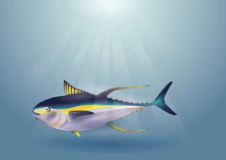 fish in an ocean Ilustração