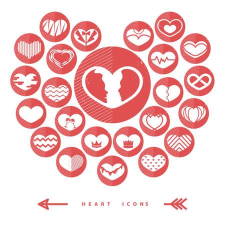 Set di icone del cuore di amore Archivio Fotografico - 81537500