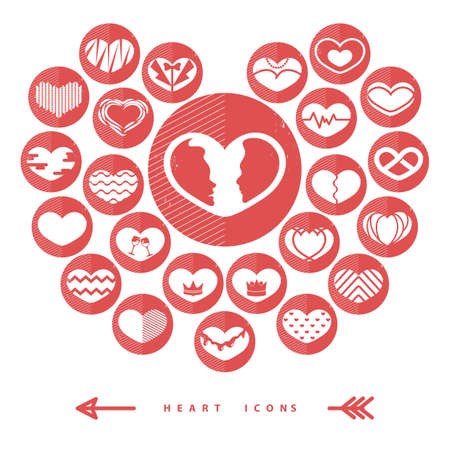 Set of love heart icons Banco de Imagens - 81537500