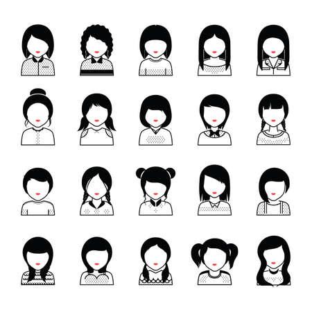 set of women icons Ilustração Vetorial