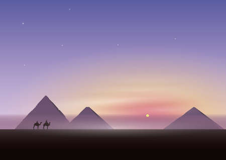 pyramids with camels
