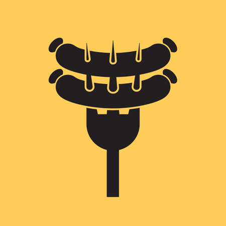 salchicha en tenedor