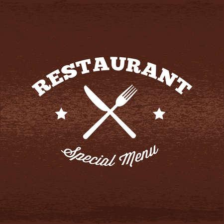 Une illustration d'étiquette de restaurant. Banque d'images - 81486021