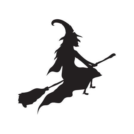 Witch on broomstick Zdjęcie Seryjne - 81470348