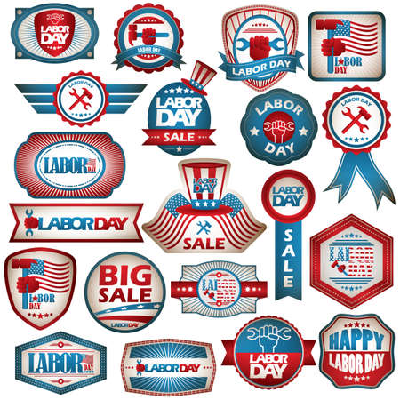 USA labor day labels collection