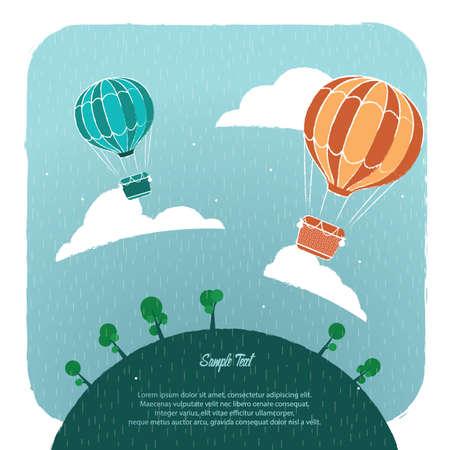 Una ilustración del fondo del globo del aire caliente. Foto de archivo - 81420283