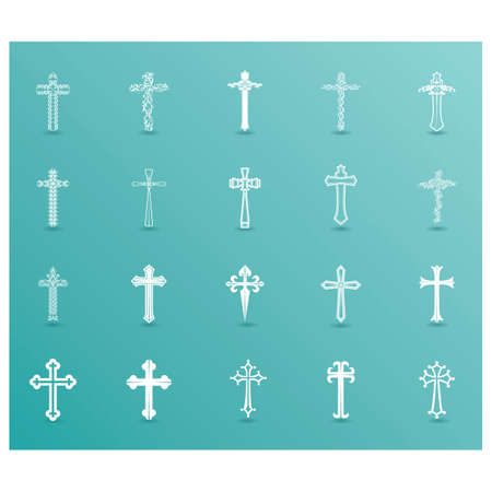 collection of decorative holy cross Ilustracja