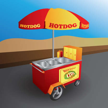 hot dog cart 向量圖像