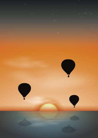 Globos de aire caliente con fondo de amanecer Foto de archivo - 81538505